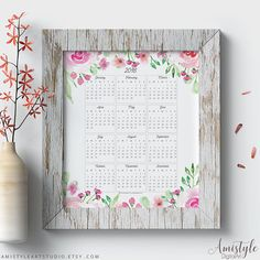 2018 Calendar Printable - 2018 Wall Calendar - with romantic and adorable watercolor floral elementsPerfect for gift for her or as office decor - by Amistyle Art Studio on Etsy Art Calendar, Calendar Printable, Printable Wall Art, Watercolor Artwork, Watercolor Print, 2018 Planner, Office Prints, Digital Prints, Digital Art