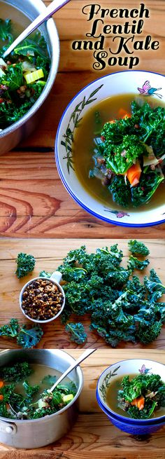 Healthy and hearty french lentil and kale soup! High-protein and vegetarian dish that you can make and keep in the fridge for later.