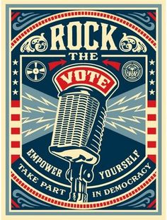 Rock the Vote / Shepard Fairey Obey Psychedelic Hippie Peace Art Poster ~ ☮~ღ~*~*✿⊱ レ o √ 乇 ! ~ Shepard Fairey is a street artist who originally became known for his Andre the Giant posters in many cities across the USA. Political Posters, Political Art, Voting Posters, Political Images, Shepard Fairey Art, Fantasy Anime, Rock The Vote, Voter Registration, Arte Pop