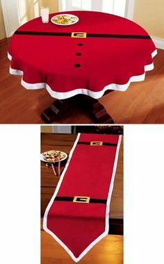 Christmas DIY: Santa Belt Decorativ Santa Belt Decorative Holiday Table Linens-buy red tablecloth/runner and make myself. Santa Decorations, Christmas Table Decorations, Holiday Tables, Christmas Tables, Christmas Table Cloth, Christmas Sewing, Santa Christmas, Christmas Parties, Christmas Quilting