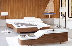 Interesting bedroom.. Not the coziest but very sleek. #bedroom #design #naturessleep