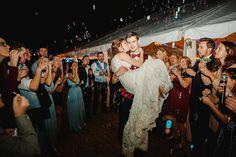 Bubble exits are a great alternative to sparklers!! | Charlotte wedding, Charlotte wedding vendors, Fall wedding, NC wedding, NC wedding vendors, red wedding | Photography @JuliaFayPhoto Venue @MorningGloryNC Attire @MensWearhouse, @Davidsbridal & @simpsonsbridal