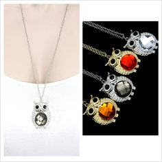 Owl Necklace in an assortment of colours #CatwalkFashion #Accessories #CatwalkAccessories #2013 #Spring #SpringFashion #Fashion #Colors #Colours #Brights #Neon #Darks #Classy #Sexy #Casual #Beauty #SmartCasual #Outfitoftheday #OOTD #PhotoOfTheDay #MakeUp #LooksforLess #Dress #Top #Ghutra #GhutraFashion #Hair #Model #Ladies #WomensFashion