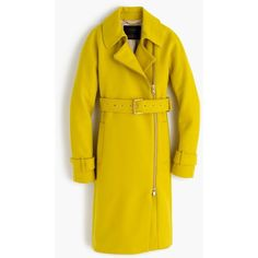J.Crew Belted Zip Trench Coat (1.285 BRL) ❤ liked on Polyvore featuring outerwear, coats, petite, asymmetrical zip coat, belted coat, j crew coats, yellow trench coat and zipper coat