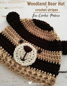 Crochet Bear Crochet Woodland Bear Hat Free Pattern - Crochet Woodland Animal Hat Series on Crochet For You. Crochet Woodland Bear Hat has a modern look with stripes and available in toddler size. Crochet Bear Hat, Crochet Baby Boy Hat, Crochet Hats For Boys, Crochet Baby Blanket Beginner, Crochet Dolls, Crochet Baby Hats Free Pattern, Crochet Granny, Crochet Clothes, Crochet Ideas