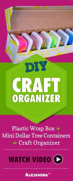 DIY Craft Organizer - Watch video here: http://www.alejandra.tv/blog/2014/12/video-diy-organization-ideas-part-1/