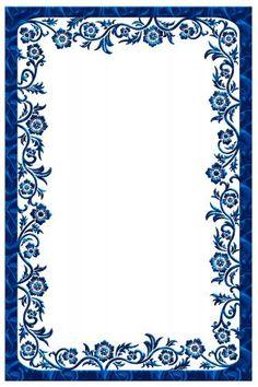 Для текста Красивая рамка с цветами синяя <i>шаблоны для открыток ко дню рождению</i> рамки