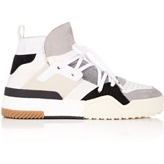 adidas Originals by Alexander Wang Women's Leather and Suede Sneakers (14.815 RUB) ❤ liked on Polyvore featuring shoes, sneakers, white, suede sneakers, leather high top sneakers, white leather shoes, lace up sneakers and white high tops