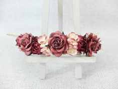 I used big roses and added cherry blossom as well as peonies to make this burgundy crown.  >>>>>>>>>>>>>>>>>>>>>>>>>>>>>>>>  MATERIAL: mulberry paper