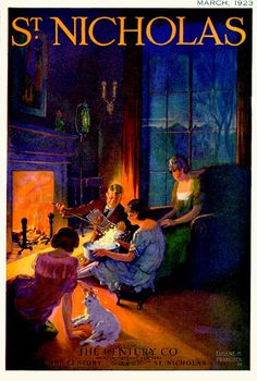St. Nicholas 1923-03 / Family making popcorn with an old-fashioned fireplace popcorn basket. Artist: Eugene M. Frandzen Source: ebay seller powerangers Restoration by: magscanner Owner: Magazine Art Gallery Administrator Full size: 650x965