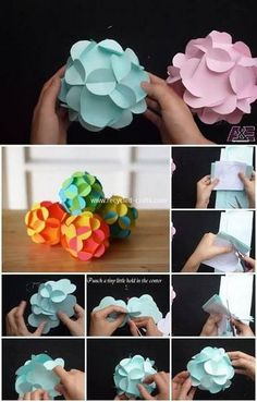 Super diy paper flowers step by step craft ideas ideas Paper Flower Ball, Easy Paper Flowers, Diy Flowers, Recycled Crafts, Handmade Crafts, 3d Paper, Paper Crafts, Paper Lampshade, Origami Decoration