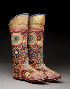 Boots, leather, cotton. Late 19th century. Central Asia. Gift of Mr. & Mrs. Blackman. Photo by Addison Doty