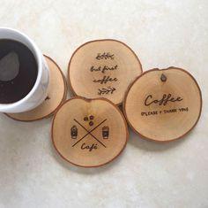 Handmade, wood burned birch wood coasters for coffee lovers!                                                                                                                                                                                 More