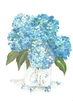 Original Aquarell Blumen Vase-Serie Aqua von KenziesCottage auf Etsy
