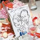 """PLEASE, clients??! For smaller weddings, you could get the characture artist to do one of all the couples & people at your wedding -- that is their wedding favour, but also get them scanned and do a """"cartoon scrapbook memory book"""" os that special day!"""
