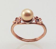 Pink Pearl Ring  in 14K rose gold by FernandoJewelry on Etsy, $625.00