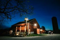 This barn wedding is picture perfect. | A barn wedding under the lights with a rustic DIY feel. | Brideside  #brideside #wedding #realwedding #barn #country #love #rustic #nightshot