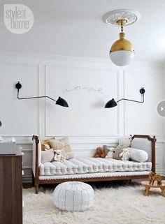 Style at Home - nurseries - white walls, white wall color, ceiling medallion, modern brass pendant, modern antiqued brass pendant, shag rug,...