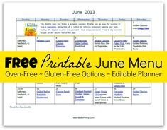 Free Printable Oven Free Menu for June with Recipe Links
