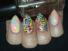 Neon unicron nails Tatting, Unicorn, Nail Art, Neon, Nails, Beauty, Varnishes, Beleza, Ongles