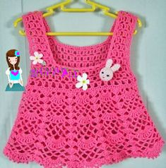 Crochet Bebe, Crochet Girls, Newborn Crochet, Cute Crochet, Crochet For Kids, Crochet Top, Baby Vest, Drops Design, Summer Baby