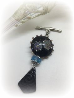 Beaded Charm Pendant attaches effortlessly to available Stainless Steel or Leather Chains. Created with Handmade Lampwork Bead, Etched Floral Carved Glass and Czech Fire Polished Glass.