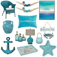 Ocean Blue Decor: Turquoise, Aqua Blue and Ocean Blue Decor for a Sea Inspired Home. Hamptons Decor, Seaside Decor, Beach House Decor, Coastal Decor, Coastal Colors, Coastal Style, Home Decor Accessories, Decorative Accessories, Estilo Navy