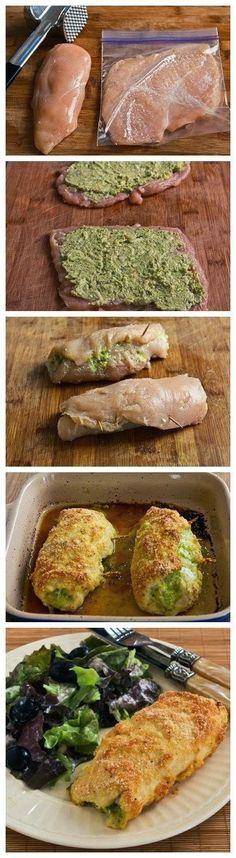 Baked chicken stuffed with pesto and cheese (Frango assado recheado com pesto e queijo) New Recipes, Low Carb Recipes, Cooking Recipes, Favorite Recipes, Healthy Recipes, Recipies, Protein Recipes, Healthy Meals, Gourmet Recipes