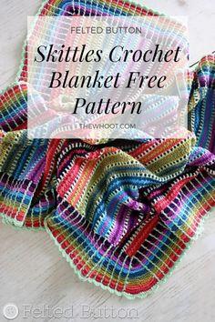 This Skittles Crochet Blanket Pattern is an absolute stunner. Crochet Mandala Pattern, Crochet Fabric, Afghan Crochet Patterns, Crochet Flowers, Knit Crochet, Knitting Patterns, Crochet Dishcloths, Crochet Afghans, Crochet Granny