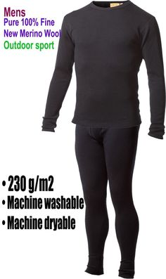 Men's  male 100% Pure Fine New Merino Wool Outdoor sports  Long Sleeves Winter Thermals Underwear Midweight  tops & bottom Sets $69.00