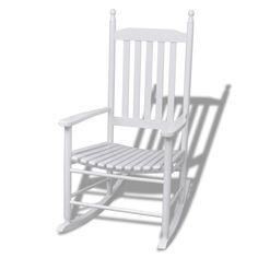 Houten schommelstoel wit met gebogen zitvlak