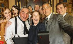 Ahead of George Clooney's turn in period drama Downton Abbey for ITV's Text Santa, a fun cast selfie has been revealed.