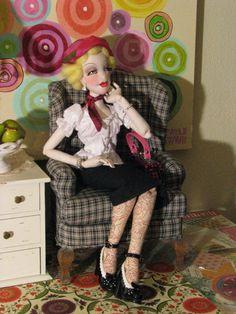 "OOAK *Minnie 22"" NWT Lady, Boudoir, Art Doll ALL Cloth, BJD Size - Gayle Wray"