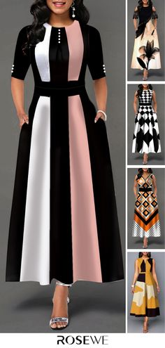 Color Block Button Detail High Waist Maxi Dress – Style Tips African Fashion Dresses, African Dress, Fashion Outfits, Womens Fashion, Pretty Dresses, Women's Dresses, Beautiful Dresses, Coat Outfit, Mode Inspiration