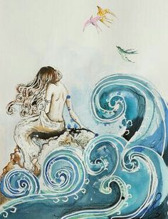 """Beautiful art by Saatchi Online Artist: Sara Riches; Pen and Ink, Drawing """"Cliodna's Wave"""" Wave Drawing, Painting & Drawing, Fantasy Kunst, Fantasy Art, Mermaids And Mermen, Fantasy Mermaids, Mermaid Art, Mermaid Paintings, Vintage Mermaid"""