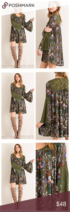 NEW ARRIVAL  Boho Floral Lace Dress Gorgeous Floral print dress featuring laced yoke and sleeves. v-neck. Fully lined. 100% rayon. COLOR: Olive.  Available in size Small (2/4) Medium(6/8) and Large(10/12). Price is firm unless bundled.  TK1650232 2 a T Boutique  Dresses