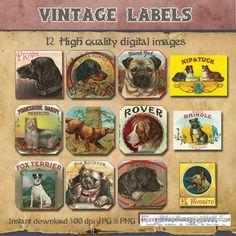 Vintage Retro Dogs Labels Scrapbooking by VintageBlueberryHill