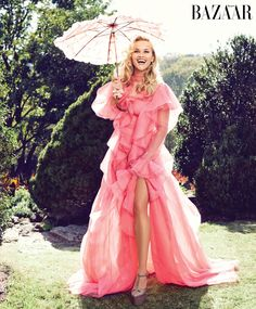 Reese Witherspoon looks pretty in pink wearing a gown with ruffles for Harper's Bazaar Magazine February 2016 issue