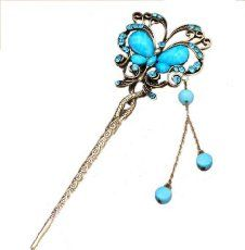 Qiyun women's elegant looking antique brass metal decorative hair stick pin with tassel for long hair - turquoise blue