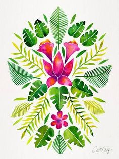 Giclee Print: Tropical Symmetry Pink And Green by Cat Coquillette : 16x12in