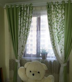 Lime Green and White Leaf Print Poly/Cotton Blend Country Living Room Curtains Living Room Decor Curtains, Home Curtains, Green Curtains, Living Room Colors, Living Room Designs, Colorful Curtains, Rideaux Design, White Leaf, Bedroom Green