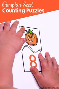 What a fun way to practice counting: These Pumpkin Seed Counting Puzzles cover numbers 0 through 10 perfect for preschool and kindergarten. The VIP version includes three different fonts and black and white versions. Fun Activities For Preschoolers, Autumn Activities For Kids, Kindergarten Activities, Number Activities, Thanksgiving Activities, Preschool Math, Counting Puzzles, 19 Kids And Counting, Learning Numbers