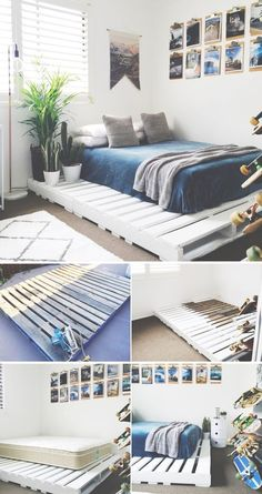 36 Easy DIY Bed Frame Projects to Upgrade Your Bedroom 15 DIY bed frames The post 36 Easy DIY Bed Frame Projects to Upgrade Your Bedroom appeared first on Wohnung ideen. bed frame 36 Easy DIY Bed Frame Projects to Upgrade Your Bedroom - Wohnung ideen Diy Pallet Bed, Pallet Bed Frames, Wooden Pallet Beds, Beds On Pallets, Wooden Bed Frame Diy, Pallet Ideas, Diy Wood, Bed Made From Pallets, Pallet Lounge