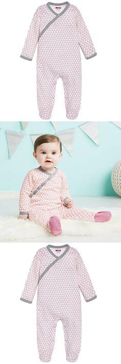SkipHop Baby Girls' Petite Triangles Side-Snap Long Sleeve Footie, Pink, Newborn