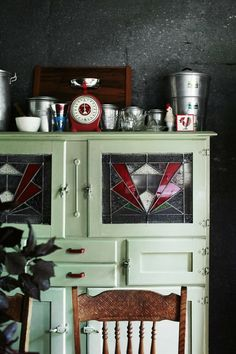 Beautiful Art Deco Wartime kitchen hutch with beautiful leaded/stained glass windows. Nundle home, photography by Sharyn Cairns Decor, Retro Home Decor, Painted Furniture, Vintage Cupboard, Vintage Kitchen, Stained Glass Cabinets, Glass Cabinet, Kitchen Dresser, Interior Deco