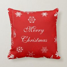 Merry Christmas white snowflakes on red decor Throw Pillow - tap/click to get yours right now! #ThrowPillow #snowflakes, #red #and #white, #merry Vintage Christmas Wrapping Paper, Retro Christmas, Christmas Home, White Snowflake, Snowflakes, Custom Pillows, Decorative Throw Pillows, Retro Candy, Xmas Holidays