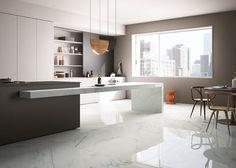 Pavimento in gres porcellanato rettificato effetto marmo per interni moderni