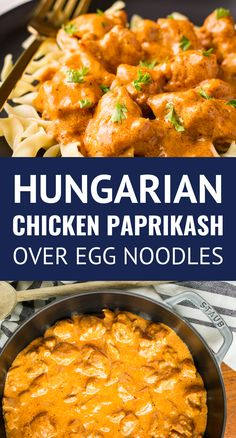 Easy Hungarian Chicken Paprikash -- an easy Hungarian chicken paprikash recipe using traditional Hungarian sweet paprika. Also known as Chicken Paprikas or Csirkepaprikás, this simple spicy Easy Chicken Recipes, Turkey Recipes, Meat Recipes, Dinner Recipes, Cooking Recipes, Healthy Recipes, Egg Noodle Recipes, Chicken And Egg Noodles Recipe Easy, Tater Tots
