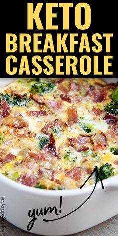 If you want an EASY keto breakfast recipe, this one will do it! It contains bacon, yummy keto vegetables, and more. Even better, I've included a collection of other amazing keto breakfast casseroles so you can try a new one every morning! These keto casseroles include keto sausage casseroles, keto egg casseroles, and more. Your whole family will love these easy keto diet recipes. Diet Dinner Recipes, Diet Recipes, Breakfast Recipes, Egg Recipes, Keto Chicken Casserole, Vegetable Casserole, Ketogenic Recipes, Low Carb Recipes, Keto Foods