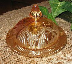 Butter Dish  Jeannette Glass Iris-Iridescent Herringbone Carnival Depression